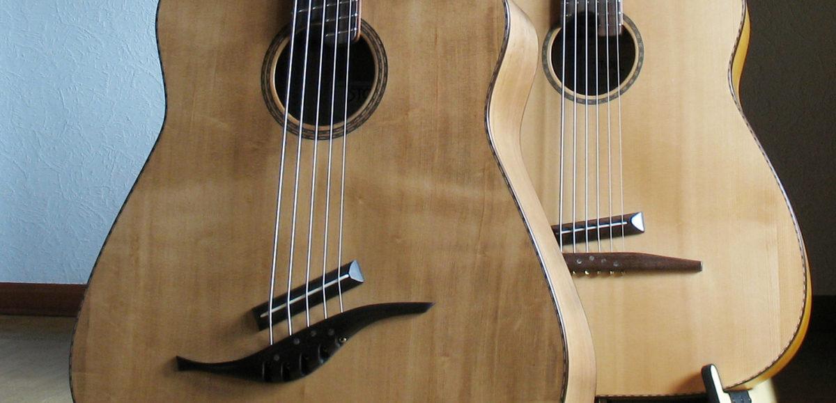 Gitarrenbau Christian Stoll: Akustische Bassgitarre mit fanned frets IQ Bass 5-Saiter Walnuss / Fichte Antik und normaler Akustikbass 6-Saiter